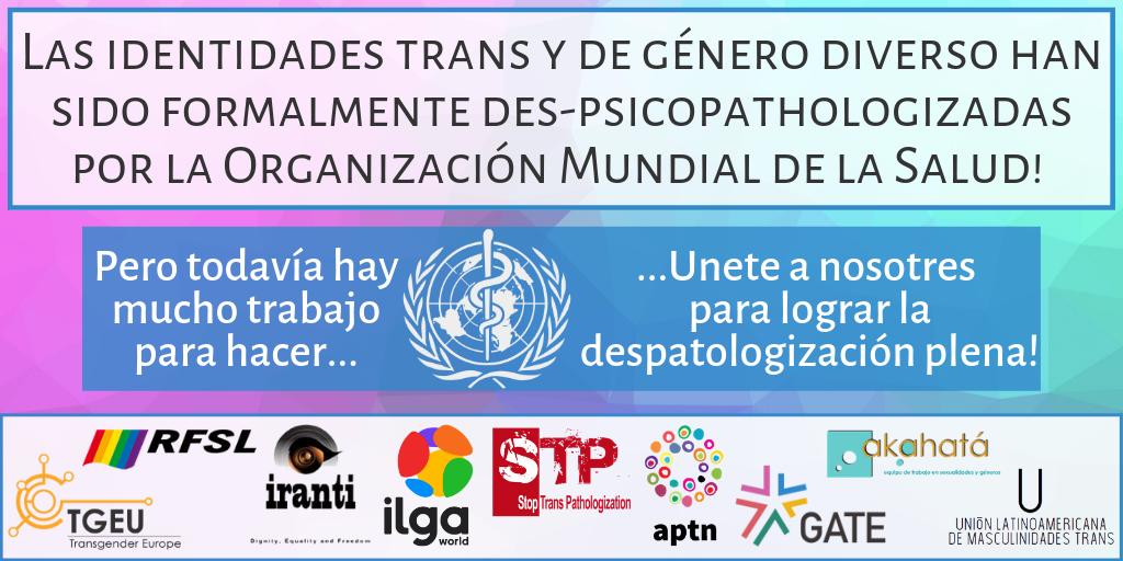 Declaración Conjunta sobre el Proceso de la CIE-11 para las Identidades Trans y de Género Diverso