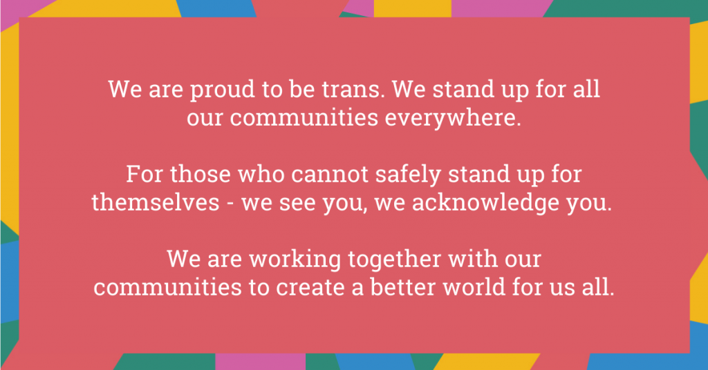 We are proud to be trans. We stand up for all our communities everywhere. For those who cannot safely stand up for themselves - we see you, we acknowledge you. We are working together with our communities to create a better world for us all.