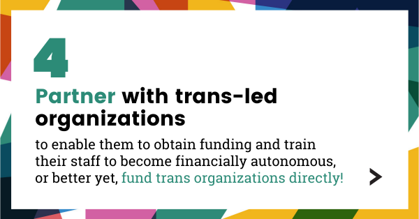 Partner with trans-led organizations to enable them to obtain funding and train their staff to become financially autonomous, or better yet, fund trans organizations directly!