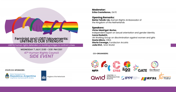 HRC 47 Side Event – Feminist and LGBTI Movements: Uniting is Our Strength